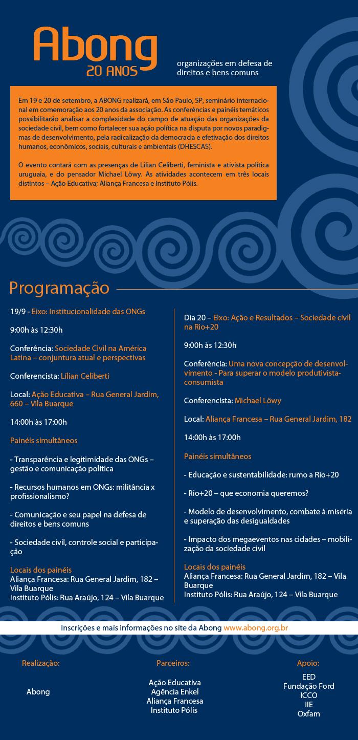 Convite para o seminário internacional Abong 20 anos